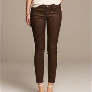 Banana Republic Womens Brown Coated Denim Jeans 30